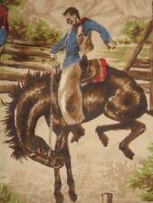 Vtg Novelty Western Scenic Cowboy Ranch Horse Calf Cotton Decor Fabric 38X11Yds