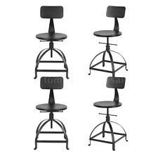 Set of 4 Rustic Bar Stools Vintage Industrial Wood Adjustable Seat Kitchen U7Y2
