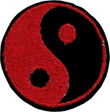 51062 Black & Red Yin Yang Symbol Opposites Tao Embroidered Sew Iron On Patch