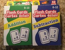 Set of 2 Learning Flash Cards Addition, Subtraction Numbers Math Educational