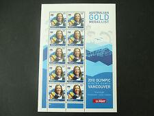 Australian Stamps: 2010 Winter Olympics  Torah Bright Sheet of 10 MNH