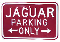 Classic Car Metal No Parking Embossed Sign Jaguar Burgandy/White - PARK56