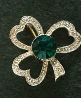 Vintage Gold-Tone Metal Green Rhinestone Shamrock Clover Leaf Pin Brooch Irish
