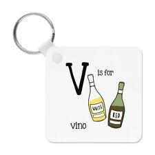 Lettre V Est pour Vino Porte-Clés Chaîne - Alphabet Mignon Drôle