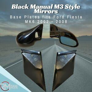 Black Manual M3 Style Mirrors & Base Plates To Fit Ford Fiesta MK6 2002 - 2008