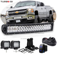 "Chevy Silverado 1500 2500 3500 Grille Bumper Lights 20/22"" LED Light Bar Combo"