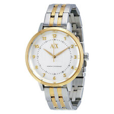 ARMANI EXCHANGE SILVER DIAL CRYSTALS TWO-TONE ST.STEEL LADIES WATCH AX5369 NEW