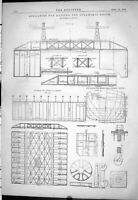 Old 1878 Engineering Appliances Raising Steamship Edith Scale Drawing Victorian
