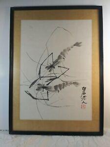 Vintage Chinese Framed Print of Shrimp Qi Baishi