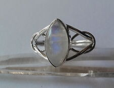395 Rainbow Moonstone Celtic Ring Solid 925 Sterling Silver size Q/U rrp$69.95