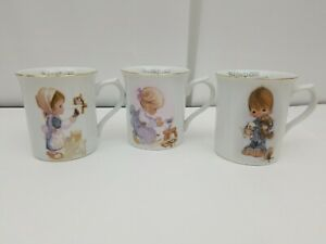 Precious Moments Teacup Mug Lot of 3 Blessed are the Merciful, Meek, Peacemakers