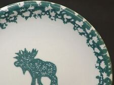 """FOLK CRAFT by Tienshan Moose Country Stoneware 8"""" Salad  Plate Holiday Dessert"""