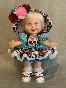 """Hand Crafted Galoob Baby Face Doll  """"Day Of The Dead"""" Dress( Doll Not Included)"""