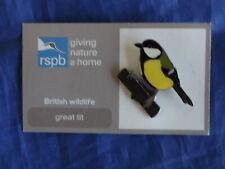 RSPB GNaH great tit Metal Pin Badge on FR Card