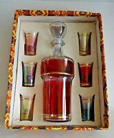 service à liqueur en cristal italien coloré vintage 1970