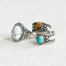 Tibetan Tigers Eye Trinket Ring-Silver Vintage Boho Hippy Gypsy-Quartz Crystal