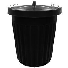 100 Litre 100L Extra Large Black Plastic Dustbin Kitchen Bin Locking Lid #252071