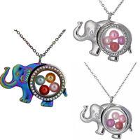 "With Rhinestone Elephant Floating Memory Glass Locket Beads Cage Necklace 20"""