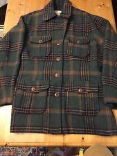 VTG 90s WOOLRICH womens L Wool Jacket 4 Pocket Tartan Preppy USA Made Green