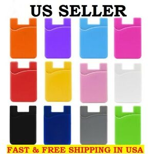 Silicone Pocket Sticker 3M Adhesive Stick-on ID Credit Card Holder For iPhone