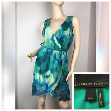 New✨ Jeans by Buffalo Womens Green Turquoise Sea Print Watercolor Wrap Dress • S