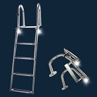 4 Step Telescoping Ladder Boat Folding Rear Entry Pontoon Ladder with LED Light