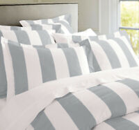 Rans Oxford Stripe Doona Duvet Queen Quilt Cover Set Silver Grey And White