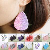 Fashion Women Leaf Teardrop Leather Earrings Ear Stud Hook Drop Dangle Jewelry