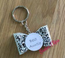 Handmade best auntie keyring / bag charm gift glitter black silver