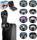 Apexel 10 in 1 Phone Camera Lens Kit Wide Angle Macro Fisheye Flow Radial Star