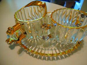 3 piece set of heavy GOLD trim glass Plate cream/sugar/ tray Heavy crystal  tray