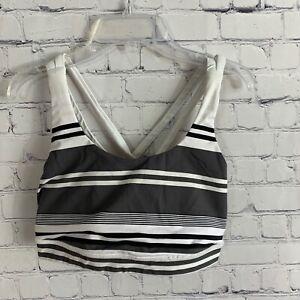 Lululemon Energy Bra White Gray Groovy Stripe Nimbus Criss Cross Straps Size 6
