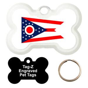 OHIO FLAG - CUSTOMIZED - PET TAG - BONE Shape - Tag-Z Dog Tags