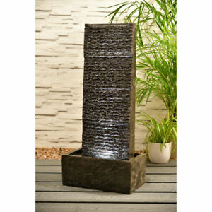 Indoor Outdoor Textured Waterfall Garden Patio Water Feature with LED Lights New