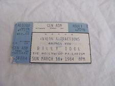 Vintage Billy Idol Concert Ticket Stub March 1984 Hollywood Paladium