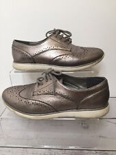 Footglove Silver Leather Shoes UK 4 EU 37 Lace Up Brogues Sporty Trainer Look