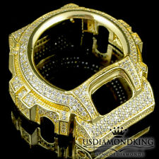 MENS WOMEN CUSTOM G-SHOCK BEZEL 14K YELLOW GOLD WHITE DIAMOND SIMULATED WD 6900