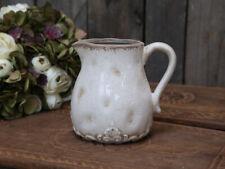 Chic Antique Kanne Krug Keramik creme weiß Shabby Vase Garten Terasse Vintage