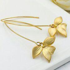 Orchid flower jewelry matte gold flower hook earring long dangle earring