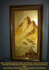 American Grand Tetons Mountain Gold Leaf on Masonite Painting by Les Parisch.