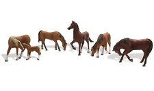 Woodland Scenics Figures #1842 - Chestnut Horses (6 pcs) - HO Scale animals -New