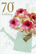 Watering Can With Roses Sara Miller Feminine 70th Birthday Card for Her / Woman