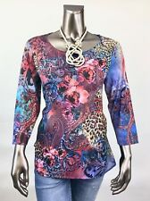 CHICO'S *NEW 1(M) RED-BLUE FLORAL HI-LOW RHINESTONE TUNIC