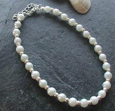 White Glass Pearl Beads Anklet Ankle Bracelet Elegant Wedding Bridal Prom