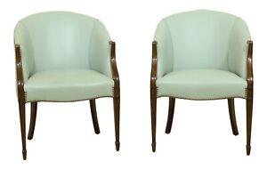 51743EC: Pair KITTINGER Baby Blue Leather Mahogany Club Chairs