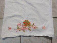 Vintage Handmade Pillowcase Hand Embroidered Cross Stitch Scalloped Edge 27 x 20