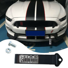 JDM Front Rear Bumper Racing Made in Japan Decal Tow Strap Towing Hook Black