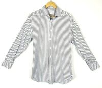 Ermenegildo Zegna Mens Dress Shirt 16.5/42 Stripe Long Sleeve Regular Fit Button