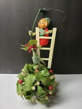 VINTAGE 1960S PIXIE ELF CHRISTMAS MISTLETOE DECORATION PIXIE CLIMBING LADDER