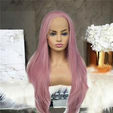 Womens Fashion Pink Lace Front Wigs Synthetic Hairs Long Straight Heat Resistant